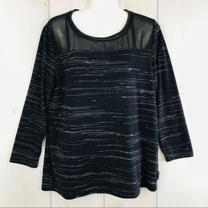 Calvin Klein Striped Black Top  3/4 Sleeve Large